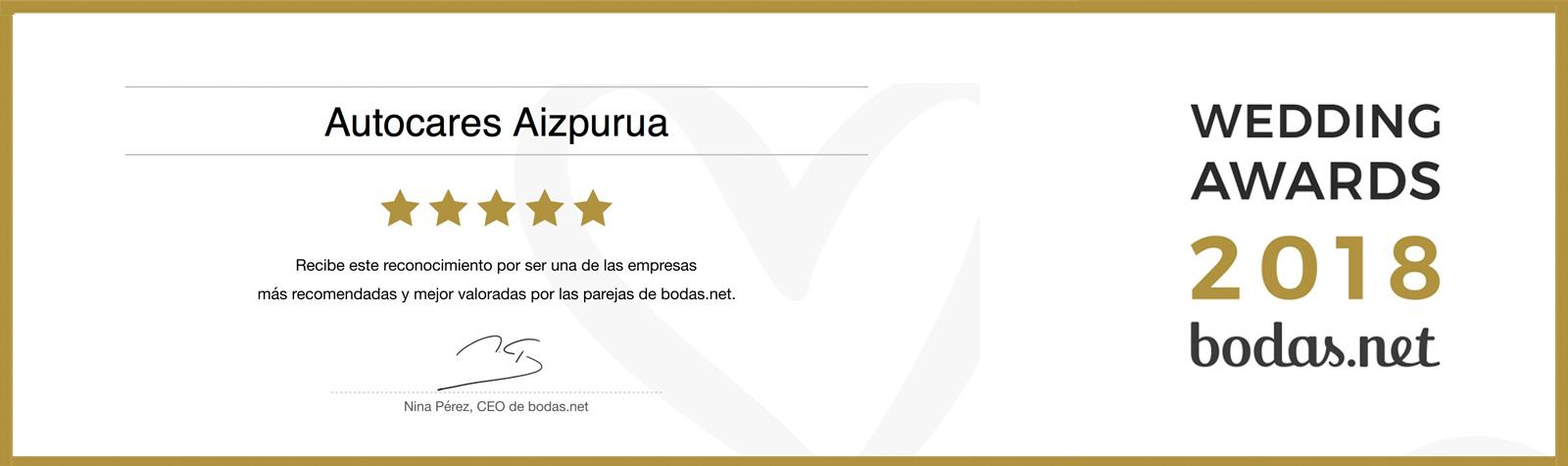 AIZPURUA AUTOBUSAK WEDDING AWARDS 2018 GARRAIO KATEGORIAN